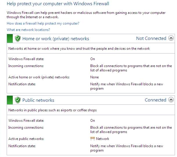 default firewall settings